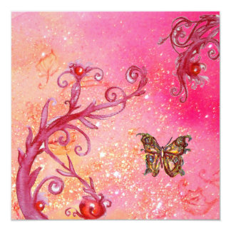 BUTTERFLY IN PINK SPARKLES 2 Elegant Wedding Party Custom Announcement