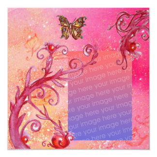 BUTTERFLY IN PINK SPARKLES  Wedding Photo Template Card