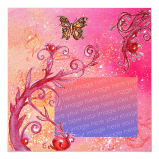BUTTERFLY IN PINK SPARKLES  Wedding Photo Template Custom Announcements