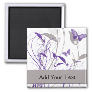 Butterfly in Purple and Grey 2 Inch Square Magnet