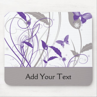 Butterfly in Purple and Grey Mouse Pad