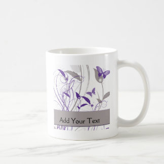 Butterfly in Purple and Grey Mugs