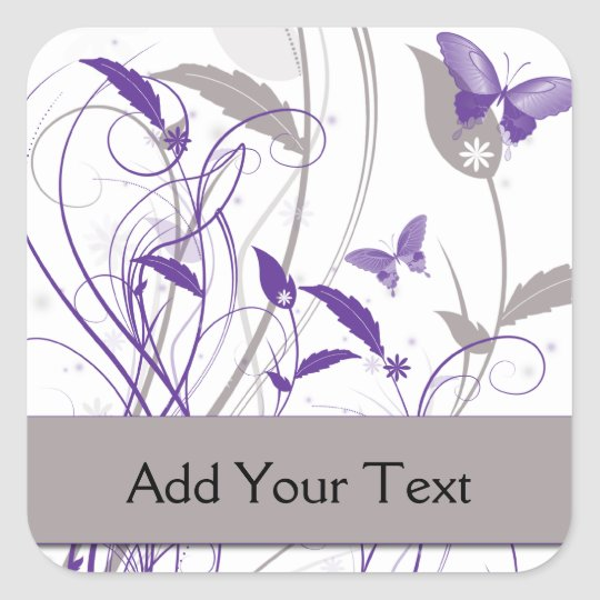 Butterfly in Purple and Grey Square Sticker
