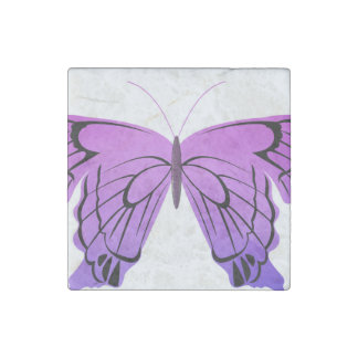 Butterfly in Shades of Purple Stone Magnet