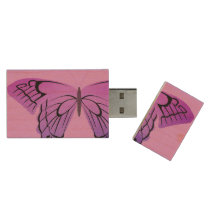 Butterfly in Shades of Purple Wood USB Flash Drive