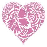 Butterfly in Snow Heart Sticker