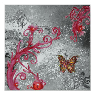 BUTTERFLY IN SPARKLE 2 Silver Metallic Wedding Card