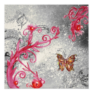 BUTTERFLY IN SPARKLE Red Gold Metallic  Wedding Card