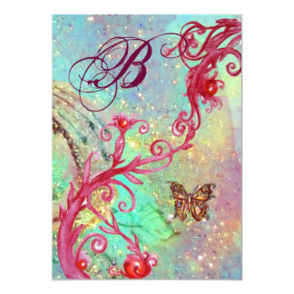 BUTTERFLY IN SPARKLES 2 Blue Wedding Monogram , Card