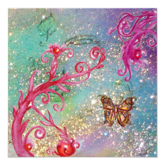 BUTTERFLY IN SPARKLES 2 Elegant Blue Wedding Party Card
