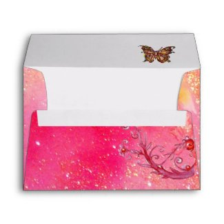 BUTTERFLY IN SPARKLES 2 pink red envelope