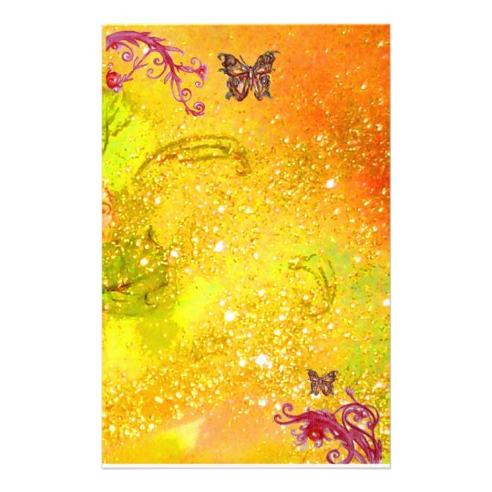 BUTTERFLY IN SPARKLES 2, yellow  red Stationery