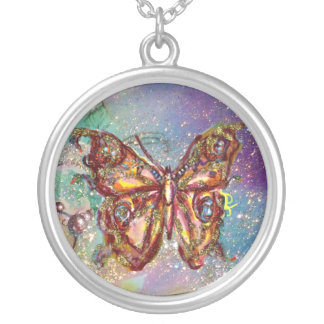 BUTTERFLY IN SPARKLES , blue Round Pendant Necklace