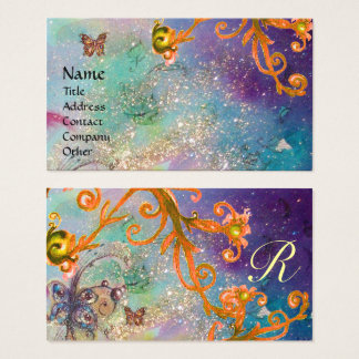 BUTTERFLY IN SPARKLES, BLUE YELLOW SWIRLS MONOGRAM BUSINESS CARD