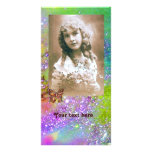 BUTTERFLY IN SPARKLES bright purple green blue Customized Photo Card
