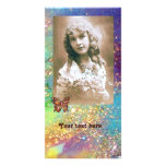 BUTTERFLY IN SPARKLES bright purple pink blue gold Photo Card