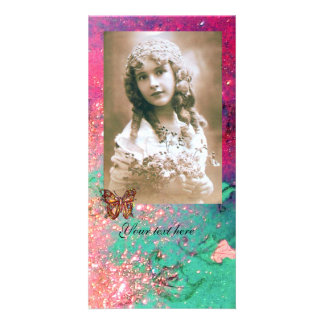 BUTTERFLY IN SPARKLES bright red ,pink green Card