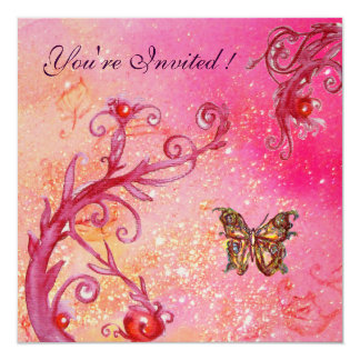 BUTTERFLY IN SPARKLES Elegant Pink Wedding Party Card