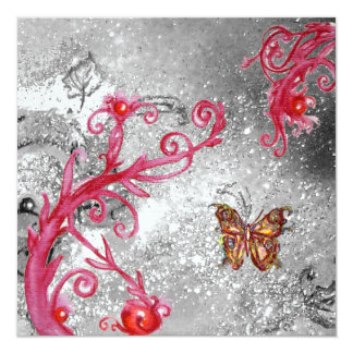 BUTTERFLY IN SPARKLES Elegant Wedding ice metallic Card