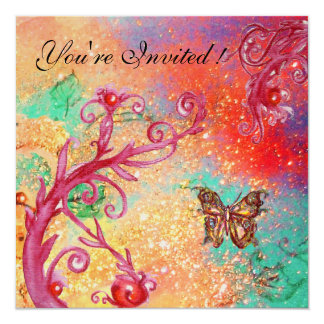 BUTTERFLY IN SPARKLES Elegant Wedding Party Gold Personalized Invitations