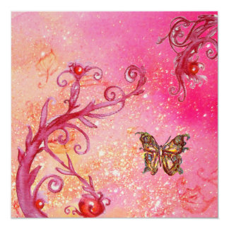BUTTERFLY IN SPARKLES Elegant Wedding Party Gold Personalized Announcement
