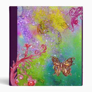 BUTTERFLY IN SPARKLES green pink purple violet Binder