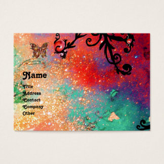 BUTTERFLY IN SPARKLES, PINK,BLACK SWIRLS MONOGRAM BUSINESS CARD