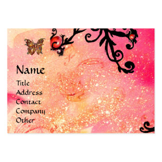 BUTTERFLY IN SPARKLES, PINK,BLACK SWIRLS MONOGRAM LARGE BUSINESS CARD