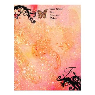 BUTTERFLY IN SPARKLES ,Pink Black Swirls Monogram Letterhead