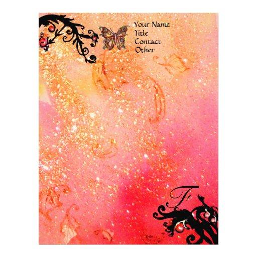BUTTERFLY IN SPARKLES ,Pink Gold Black Monogram Letterhead