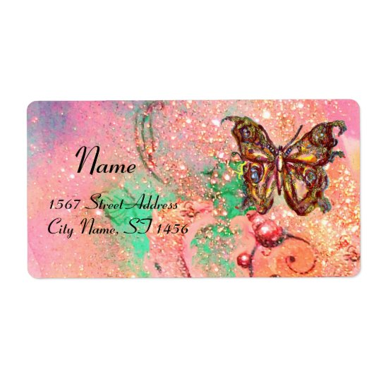 BUTTERFLY IN SPARKLES , pink green Label