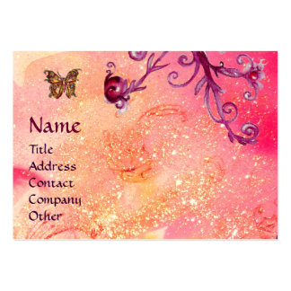 BUTTERFLY IN SPARKLES, PINK,PURPLE SWIRLS MONOGRAM LARGE BUSINESS CARD