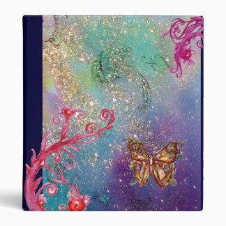 BUTTERFLY IN SPARKLES ,pink red blue green violet 3 Ring Binder