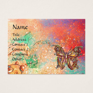 BUTTERFLY IN SPARKLES Pink Red Green Gold Business Card