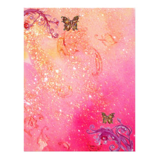 BUTTERFLY IN SPARKLES ,pink red Letterhead