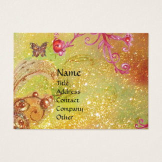 BUTTERFLY IN SPARKLES, PINK,YELLOW SWIRLS MONOGRAM BUSINESS CARD