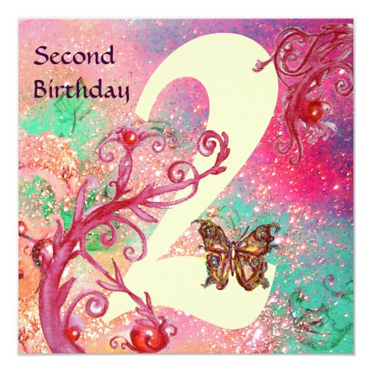 BUTTERFLY IN SPARKLES Second Birthday Party Card