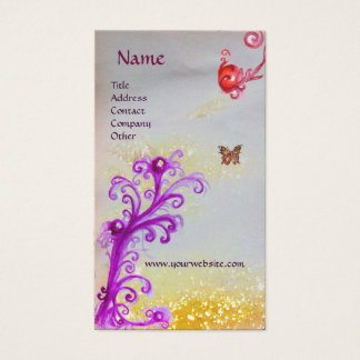 BUTTERFLY IN SPARKLES SILVER PLATINUM MONOGRAM BUSINESS CARD