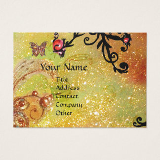 BUTTERFLY IN SPARKLES,YELLOW,BLACK SWIRLS MONOGRAM BUSINESS CARD