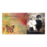 BUTTERFLY IN SPARKLES,yellow,red brown Customized Photo Card
