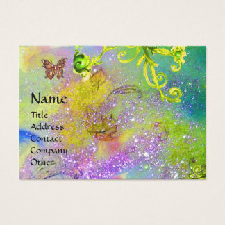 BUTTERFLY IN SPARKLES,YELLOW SWIRLS MONOGRAM BUSINESS CARD