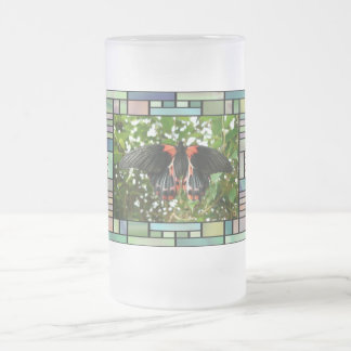 Butterfly in stained glass frame coffee mugs