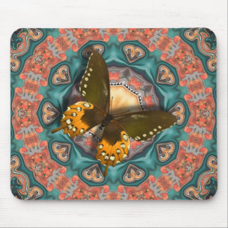 Butterfly In The Flower Garden. Mouse Pad