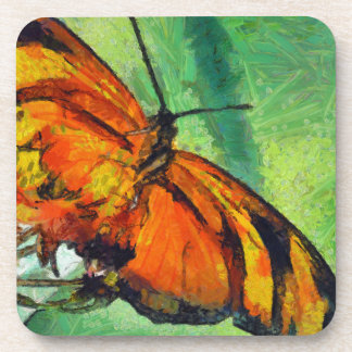 Butterfly in the garden beverage coasters