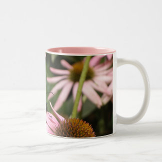 Butterfly in the Pink Flowers Two-Tone Coffee Mug