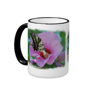 Butterfly in the Rose of Sharon Ringer Coffee Mug
