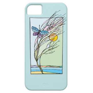 Butterfly in Tree with Sun Illustration iPhone 5 Case