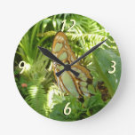Butterfly in Tropical Leaves Nature Photography Round Clock