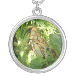 Butterfly in Tropical Leaves Nature Photography Silver Plated Necklace