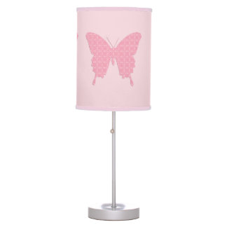 Butterfly in wallpaper print - light pink table lamps